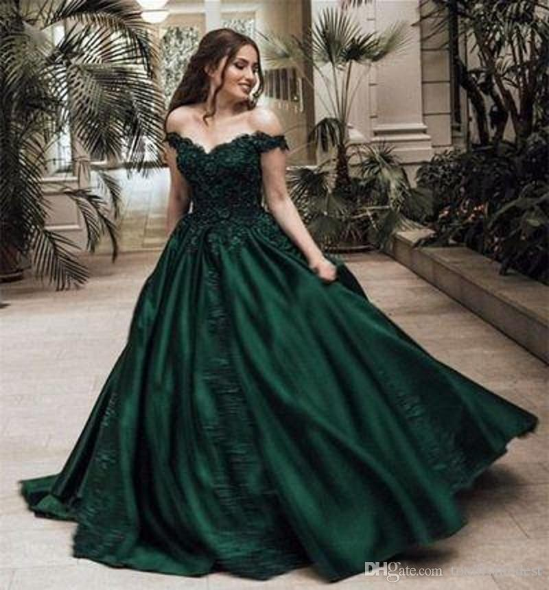 Dark Green Ball Gown Colorful Wedding Dresses Off The