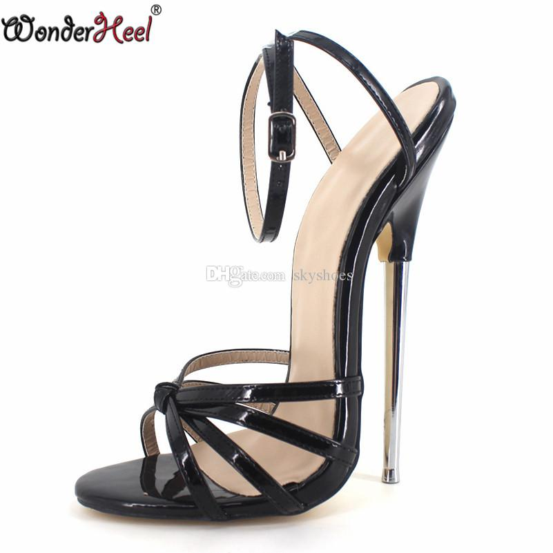 b70616f0513 Wonderheel Hot Sale Extreme High Heel 18cm Heel BLACK Sexy Fetish Ankle  STRAP WOMEN SANDALS With 7 Metal Heel Green Shoes Shoe Shop From Skyshoes