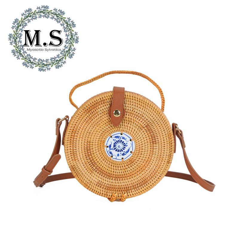 e983f87cd4b98f M.S Ceramics Patchwork Circular Messenger Bags Chinese Style Vintage  Women'S Designer Handbags Belt Hasp Beach Straw Bag SW003 Cheap Purses  Wholesale ...