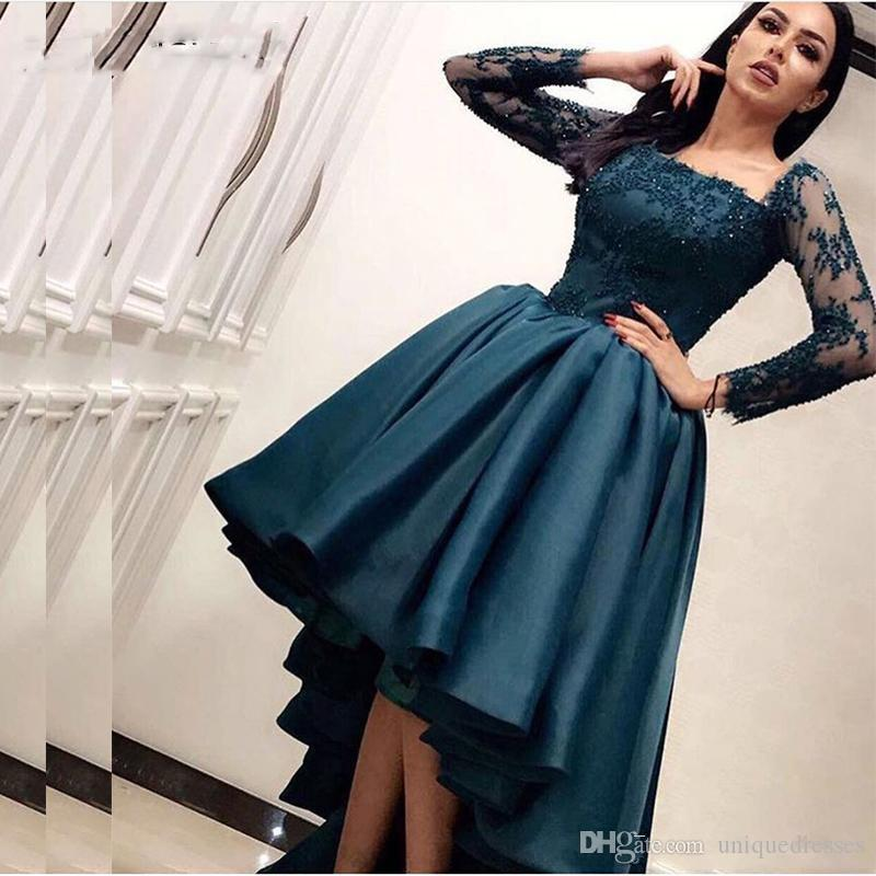 Arabic Dubai High Low Prom Dresses 2019 Long Sleeve Vintage Lace Appliques  Beaded Formal Party Evening Dress Saudi Arabia Pageant Gowns Plus Size Prom  Plus ... b17b3d986fe6