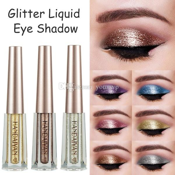 Beauty Essentials Eye Shadow Handaiyan 12 Colors Diamond Glitter Eye Shadow Cream Waterproof Long Lasting Gold Silver Metallic Liquid Eyeshadow Cosmetics