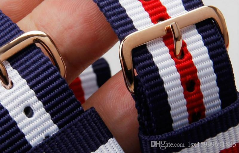 18 MM Gül Altın Manşet Naylon Watch Band Moda Daniel İzle Kadınlar NATO Watch Band