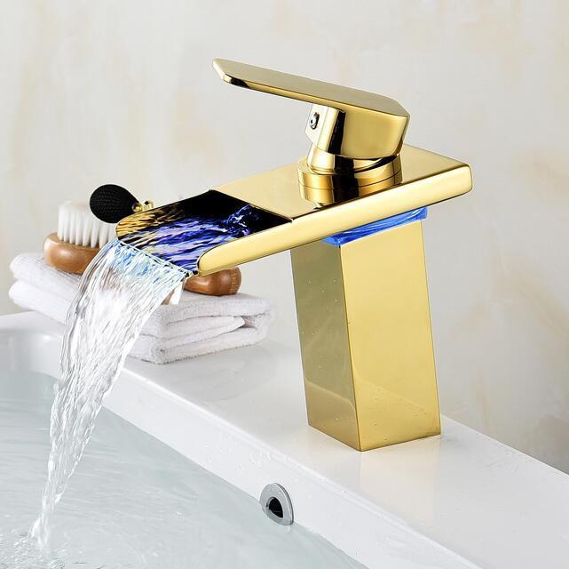 2018 Bathroom Waterfall Faucet Led Faucet. Gold Waterfall Brass ...