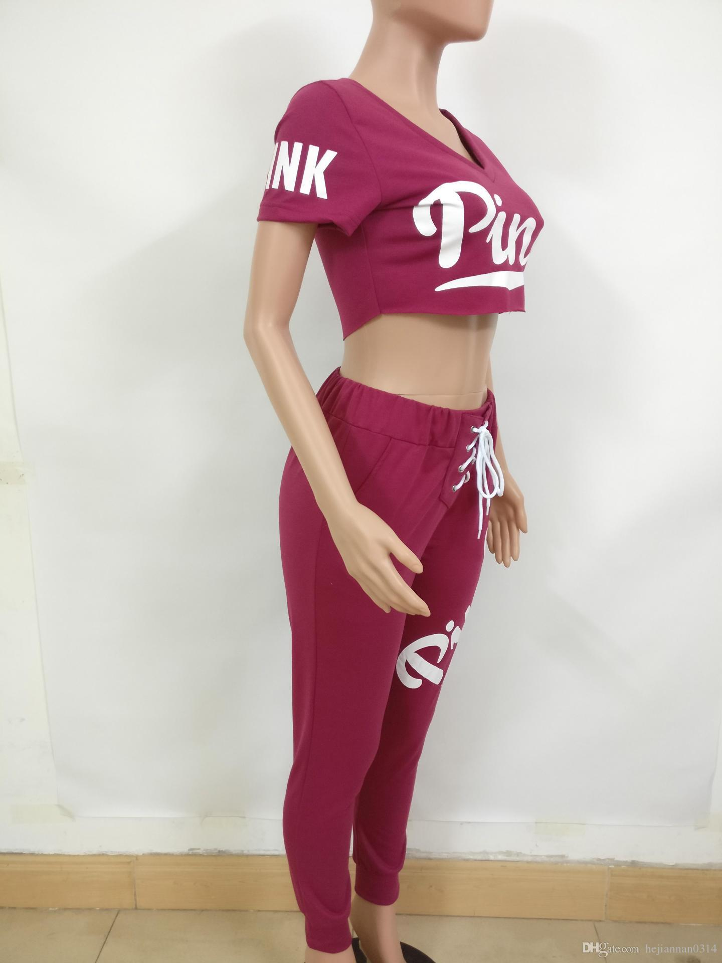 Amour Rose Femmes Survêtement Paillettes V-Neck Pull T Shirt + Pantalon Ensemble Rose Lettre Print Printemps Haut Sportswear Dames Vêtements Costume