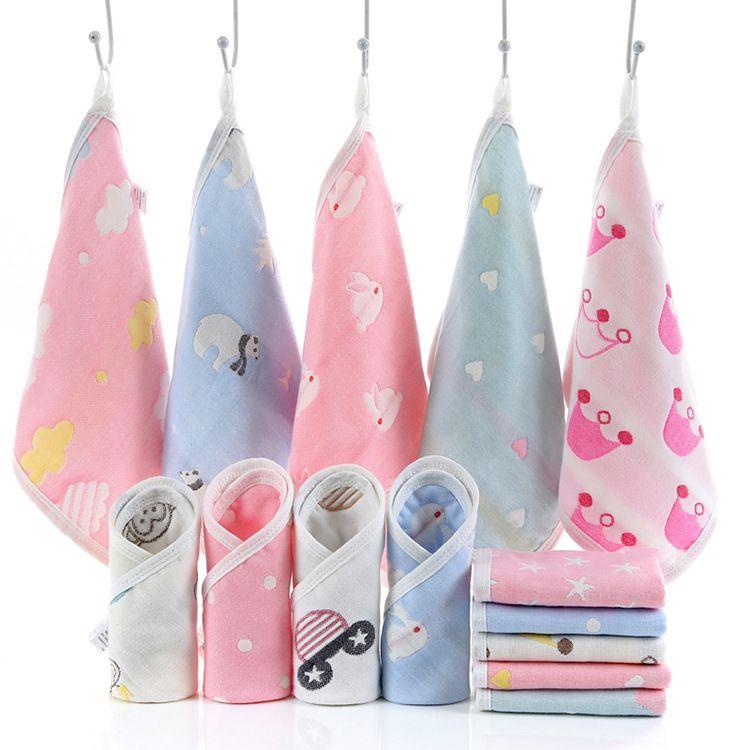 25*25cm Baby Towel Face Muslin cotton Absorbent Drying Bath Beach Towel 6 layers Washcloth Swimwear Baby Towel Handkerchief 210091