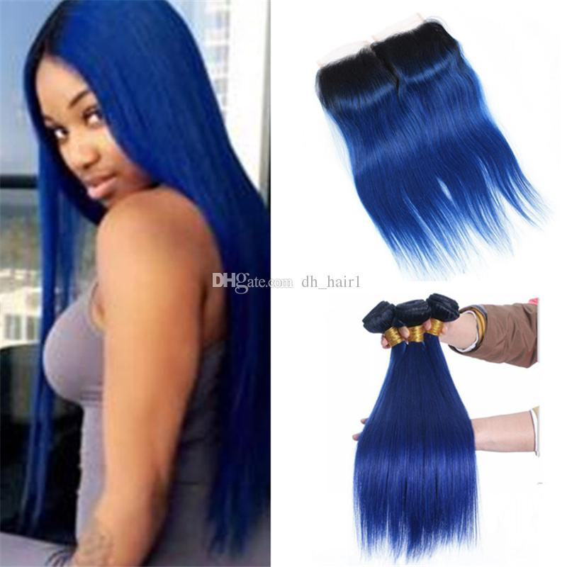 8A Peruvian Straight Ombre Blue Hair Bundles with Lace Closure 2 Tone 1B/Blue Ombre Human Hair Weaves and Top Closure 4Pcs Lot