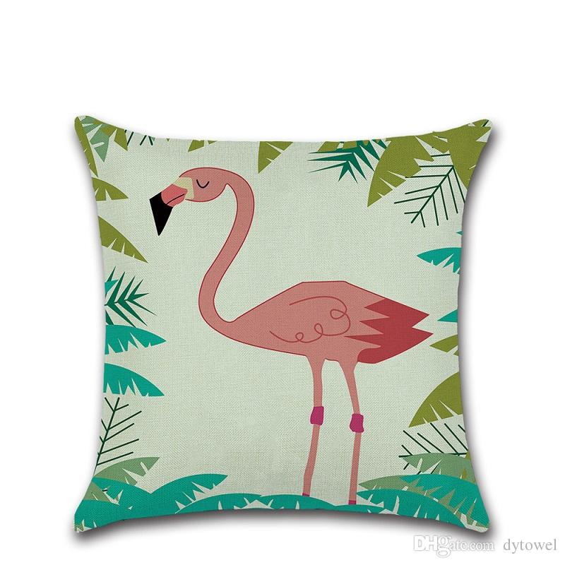 Birds Flamingo Throw Pillow Cases Cushion Cover Decorative Pillowcase Home Sofa Square Pillow Case Pillowslip Home Textiles Wedding Gift
