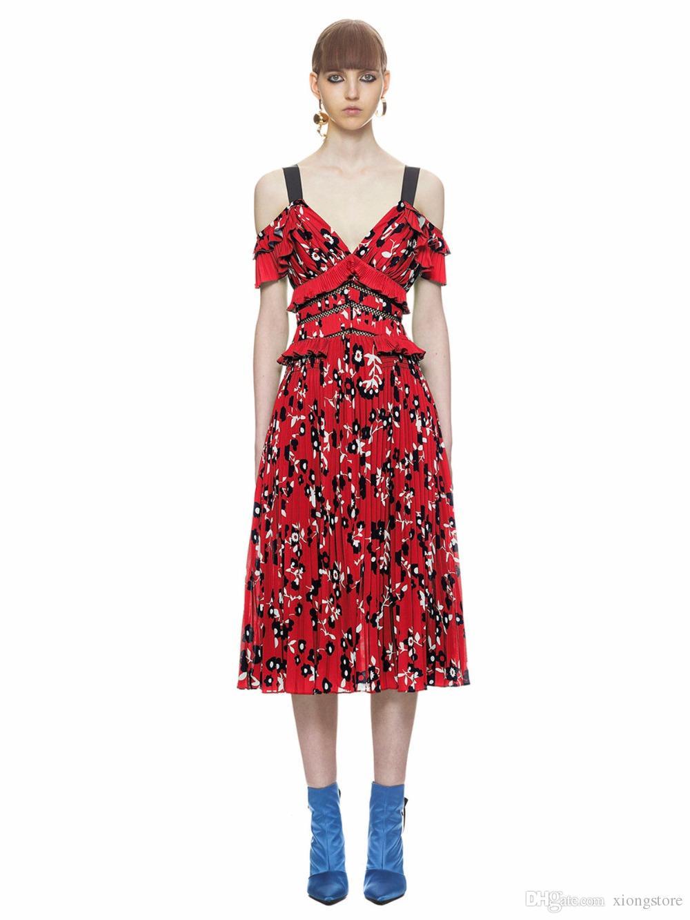 53ff4018774 Acheter Femmes Robes Sexy Nouvel Été Print Runway Dress Rouge Femmes ...