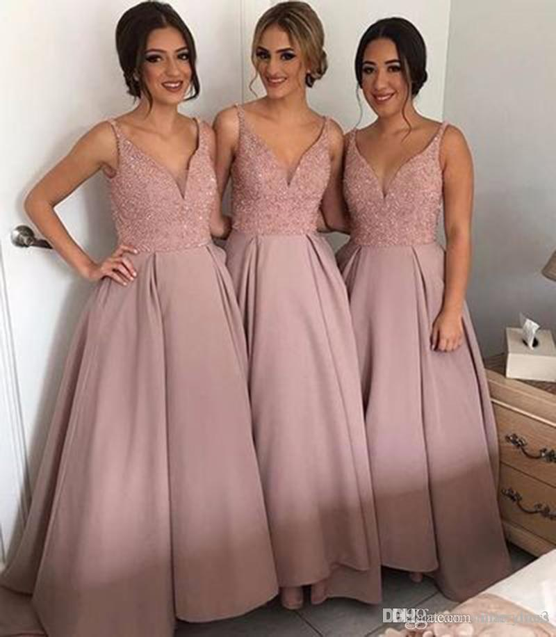 75043ddd5327 2017 Dusty Rose V Neck Bridesmaid Dresses A Line Beads Satin Wedding Guest  Dresses Plus Size Maid Of Honor Gowns SB129 Plus Size Bridesmaid Dresses  With ...