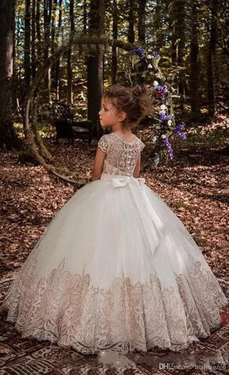 2019 Princess Ball Gown Flower Girls Dresses For Weddings Crystal Sash Baby Girl Birthday Party Gowns Cheap Kids First Communion Dresses