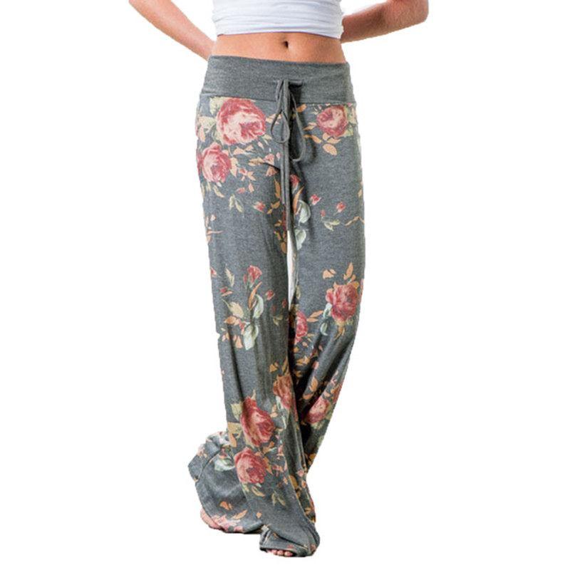 Großhandel Mode 2019 Frauen Lose Breites Bein Lange Hose Blumendruck Lässig  Hohe Taille Palazzo Leggings Hosen Pyjama Hosen Zu Hause Von Illusory01, ... dc2339d9ae