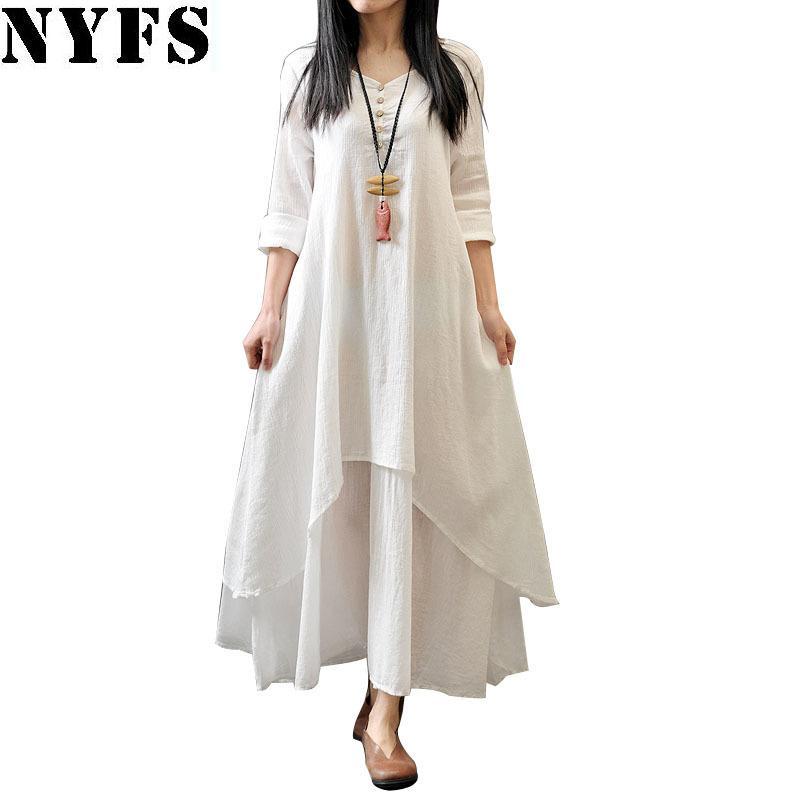 317a15c19d Nyfs 2018 New Style Spring Autumn Women Dress Vintage Cotton Linen Plus  Size Loose Plus Size Dress Vestidos Elbise M 5xl Size Y1890810 Dresses  Party ...