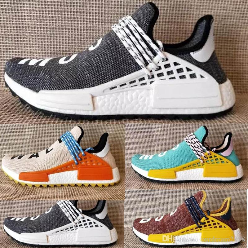 c65c5a9aa7c04 2019 2018 Pharrell X Human Race L4ND Afro Hu Trial Solar Pack NERD  Homecoming Men Women Running Shoes Holi Core Black Sports Sneakers 36 47  From ...
