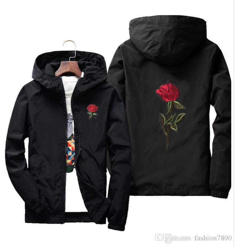 Printemps surdimensionné Rose Jacket coupe vent pour hommes et femmes veste jeunes amateurs de collège décontracté blanc noir Roses Outwear Manteau