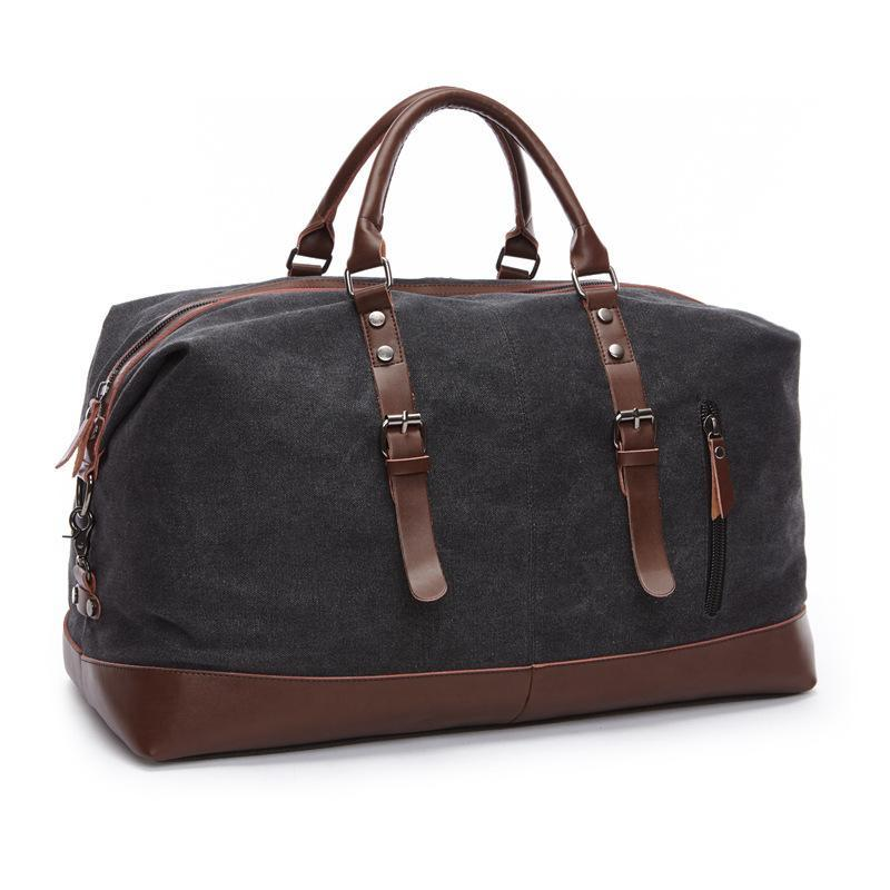 Canvas Leather Men Travel Bags Carry on Luggage Bags Men Duffel Bags ... 0d1ad7023a
