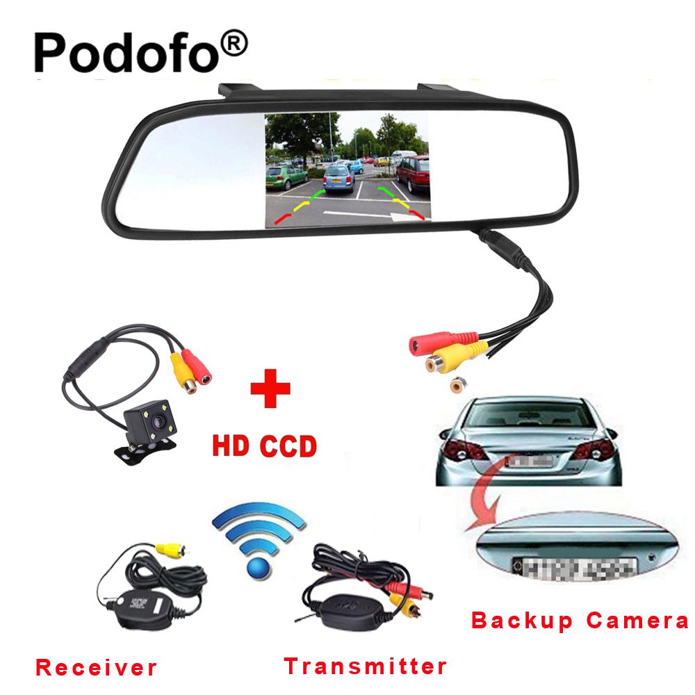 Wholesale Wireless 43 Tft Rearview Mirror Car Rear View Camera Hd