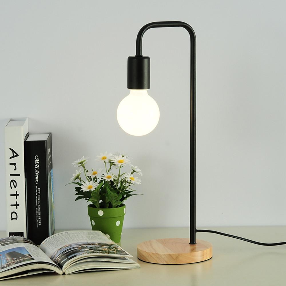 2019 Modern Wooden Table Lamp White Black Office Desk Light Bedroom