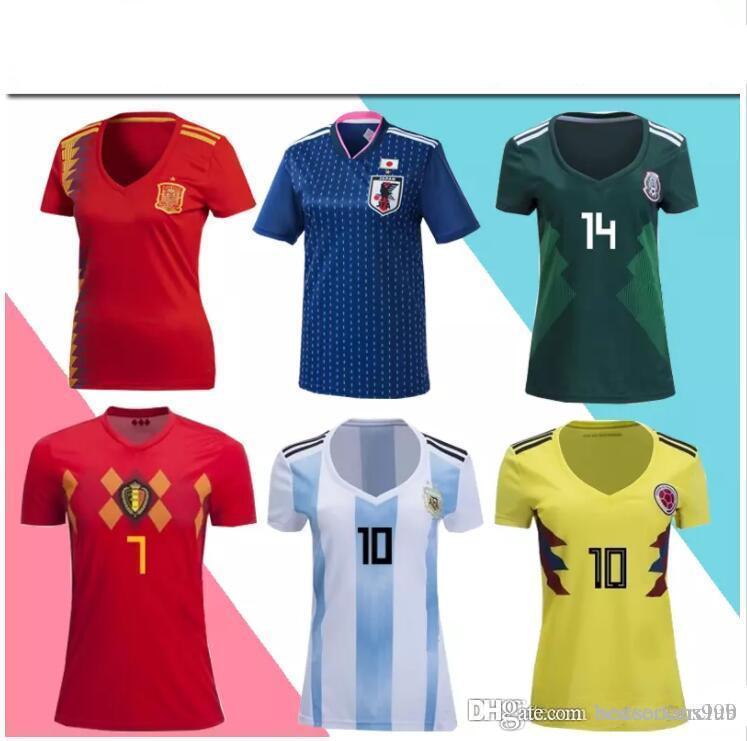 0df367b9301 2018 Women Soccer Jerseys 2017 2018 World Cup Home Shirt Spain Argentina  Japan Colombia Belgium Mexico Soccer Jerseys Women Football Uniforms From  ...
