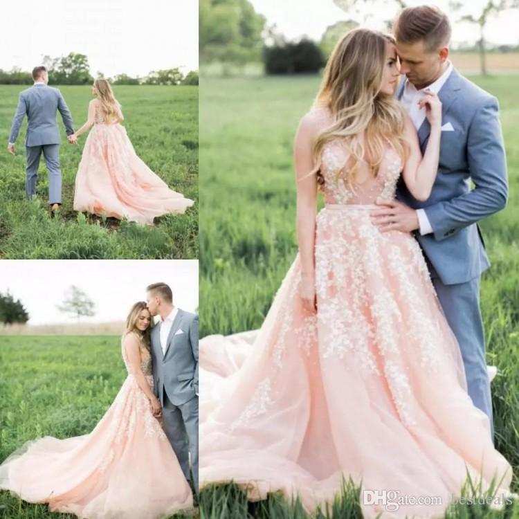2020 빈티지 블러쉬 핑크 레이스 웨딩 드레스 쉬어 목 민소매 Appliqued 얇은 명주 그물 성당 기차 웨스턴 컨트리 스타일 신부 가운