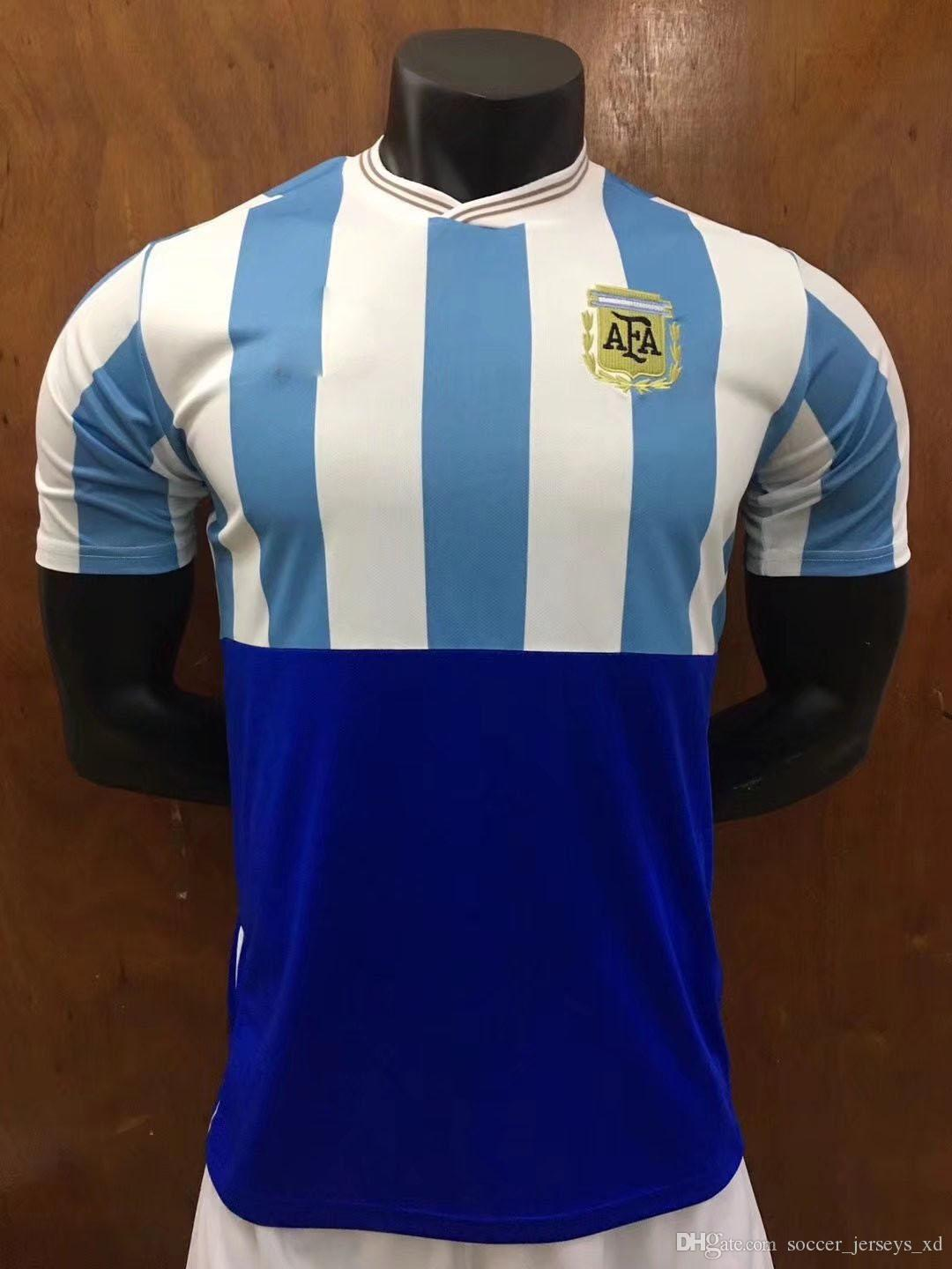 2018 World Cup Jersey Argentina Retro Version MESSI DYBALA DI MARIA AGUERO  HIGUAIN Soccer Shirt Training Wear National Team Football Jersey UK 2019  From ... 00e618f84