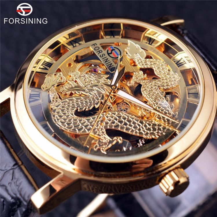20887ed10b2 Compre Forsining Dragão Chinês Esqueleto Projeto Caso Transparente Relógio  De Ouro Mens Relógios Top Marca De Luxo Relógio De Pulso Mecânico Masculino  De ...