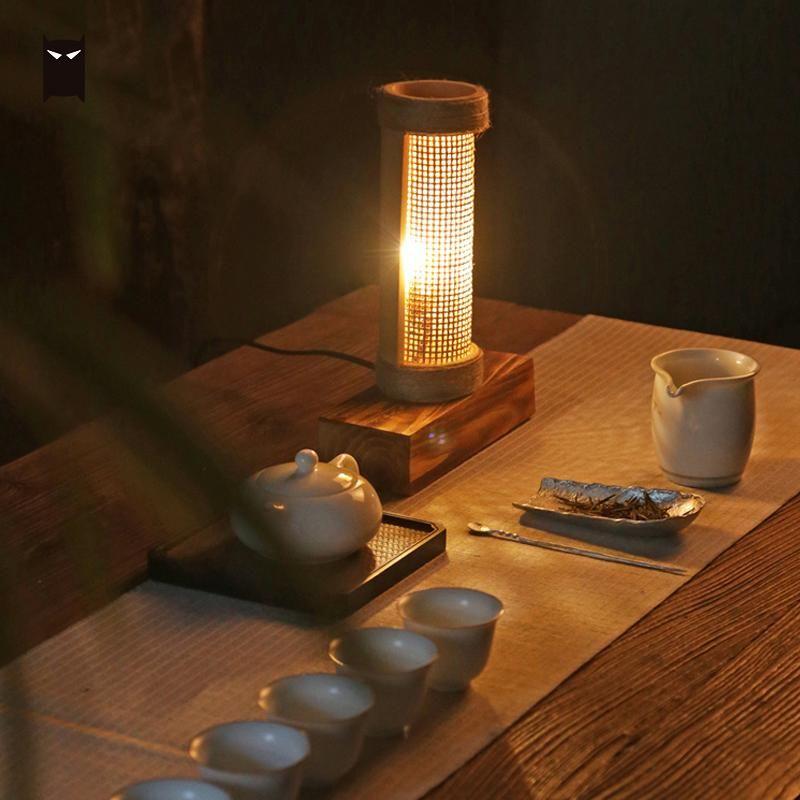 2019 Bamboo Wicker Rattan Tube Shade Table Lamp Fixture Art Chinese
