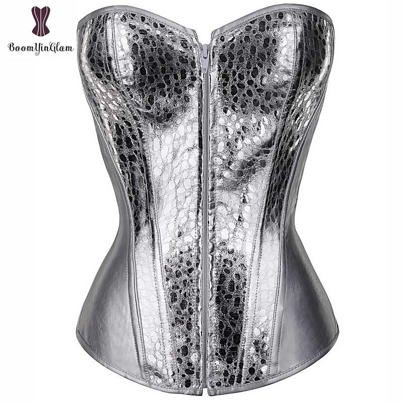 0c63d5ef2d2 2019 Silver Corset Top Shining Twinkle Faux Leather Overbust Bustier Front  Zipper Blink Corselet Elastic Boned Gothic Clubwear Korset From Philipppe