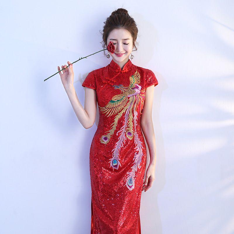 590f0c24a Red Chinese Style Bride Wedding Embroidery Cheongsam Costume Evening Dress  Show Clothing Slim Party Long Qipao Phoenix Cheongsams Cheap Cheongsams Red  ...