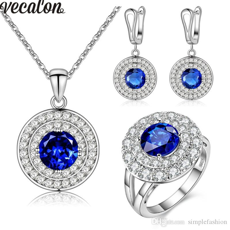 Vecalon Classic Jewelry Sets Two circle 5A Zircon Cz 925 sterling silver Necklace Earringe ring Jewelry set for women ring size 6-9