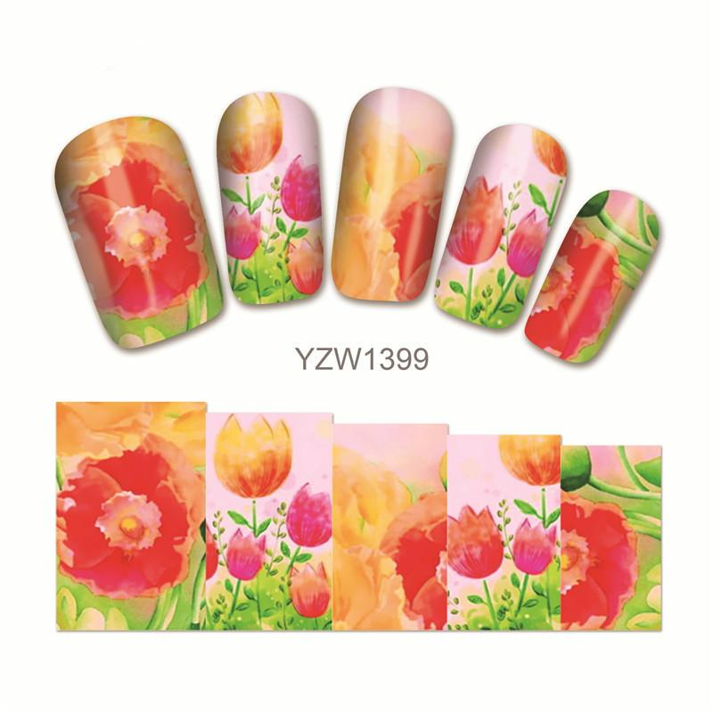 2 Sheets Red Flower Nail Stickers Drawing Plant Nail Art Decals