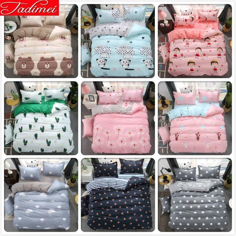 Soft Cotton 3/4 pcs Bedding Set Adult Kids Child Bed Linen Single Twin Full Double Queen King Size Quilt Duvet Cover Pillow Case
