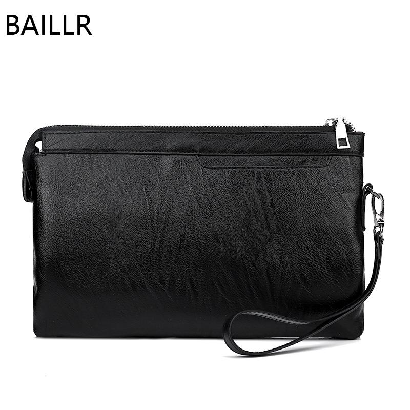 684784159e88 Black Leather Clutch Envelope Bag Men Purses And Handbags Summer Business  Man Hand Bag Small Wristlet Work For Phone Handbag Ladies Handbags Leather  ...