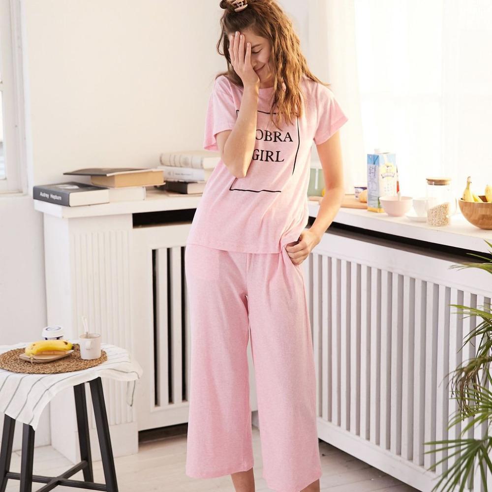 73a73d12e3 SWEETPINE Women Sleepwear Warm Soft Cotton Suit Female Short Sleeve ...
