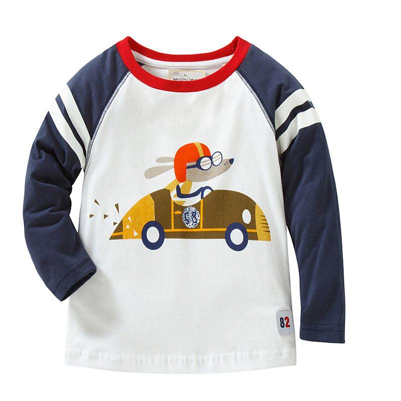 Richu white 100%cotton long sleeve baby boys t-shirts girls tops 2dshirt sweat infant boy children shirts toddler carton funny dinosaur tee