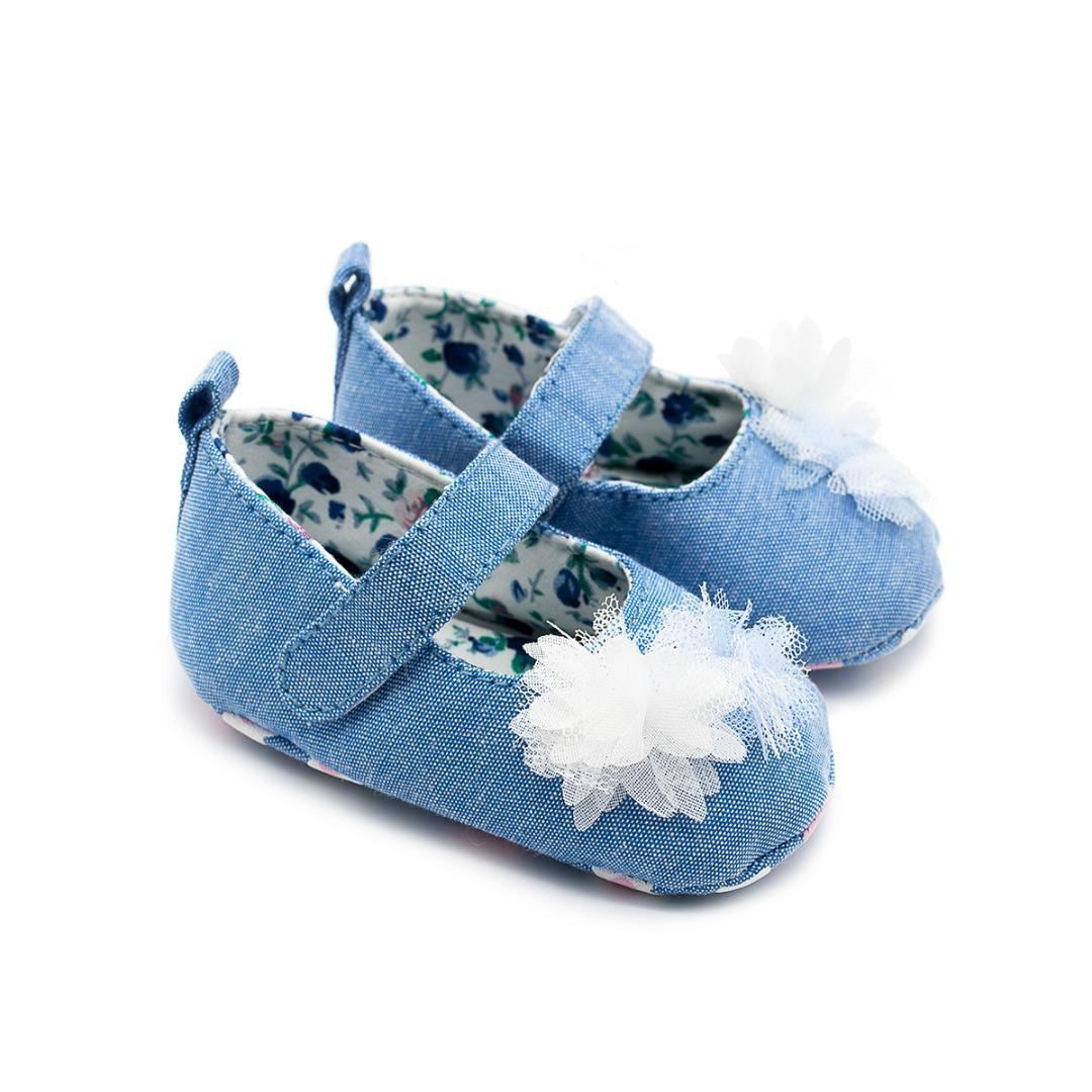 Baby Girls Shoes White Flower Bow Princess Shoes Cute Baby Infant