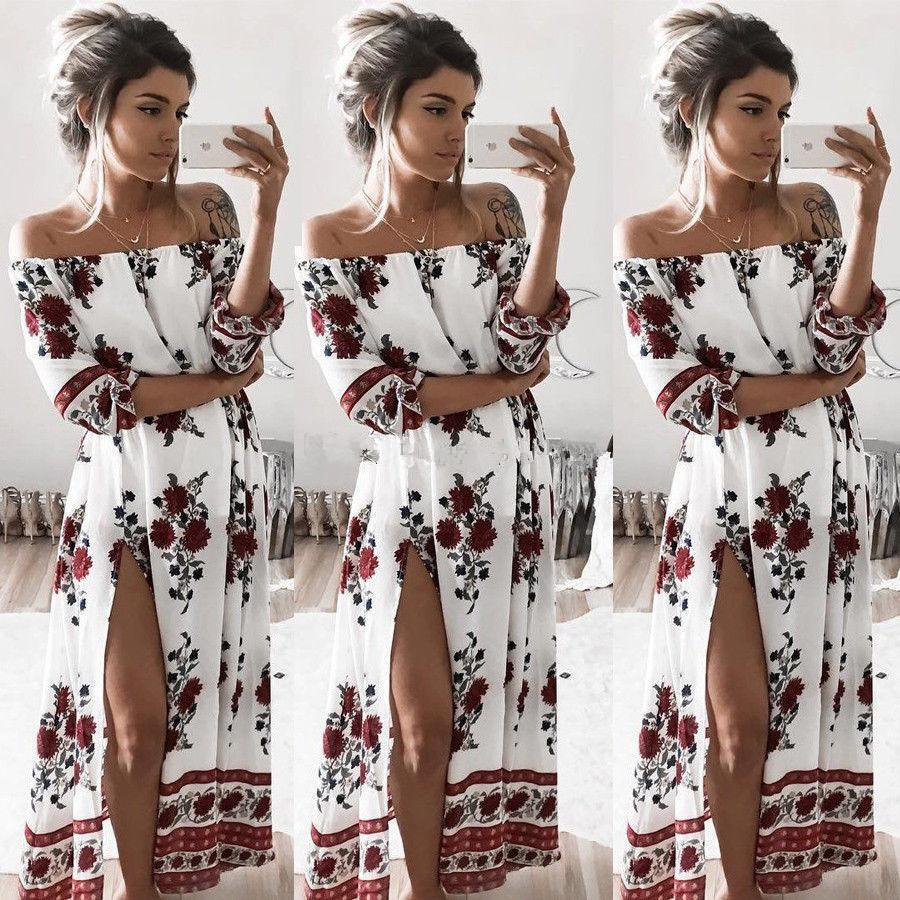 bf561bd2f Compre Bohemia De Moda Maxi Vestidos Impresión Floral Dividir Vestido Largo  Mujeres Playa Verano Slash Cuello Sexy Vestido Eleagnt Dividir Boho  Vestidos S ...