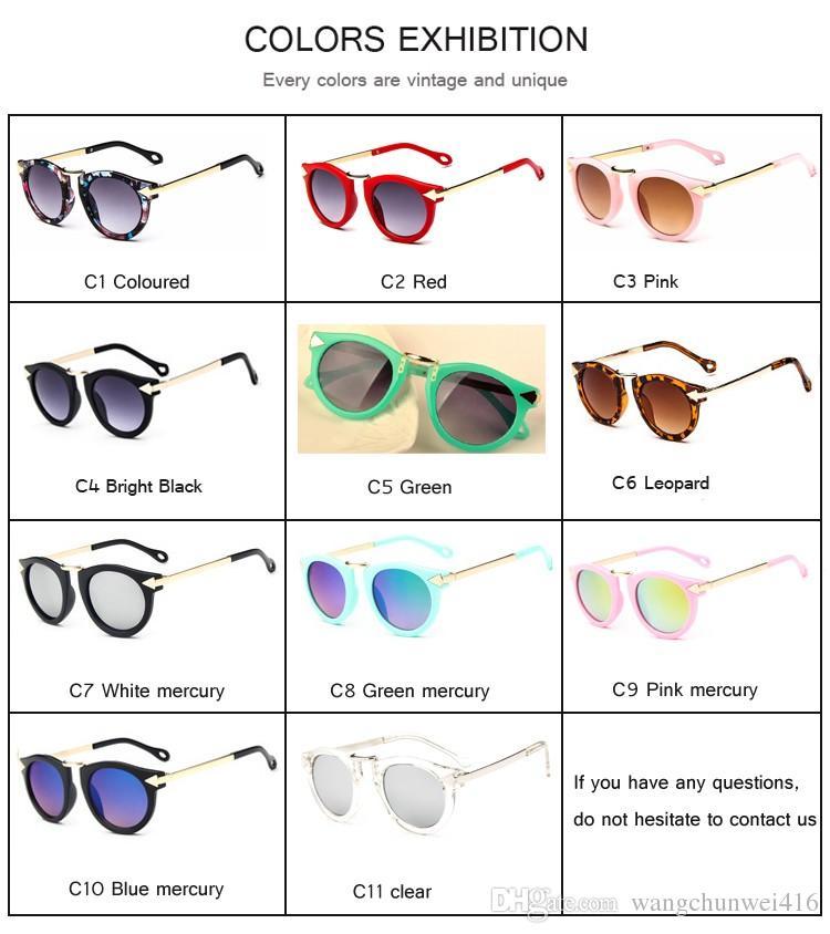 Baby Jungen Mädchen Kinder Sonnenbrille Vintage Runde Sonnenbrille Kinder Pfeil Glas 100% UV Schutz Oculos De Sol Gafas