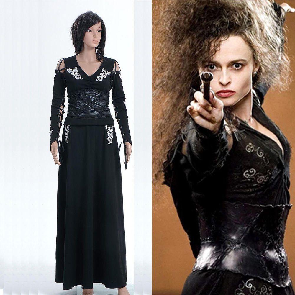 harry potter bellatrix bella lestrange black dress cosplay costume