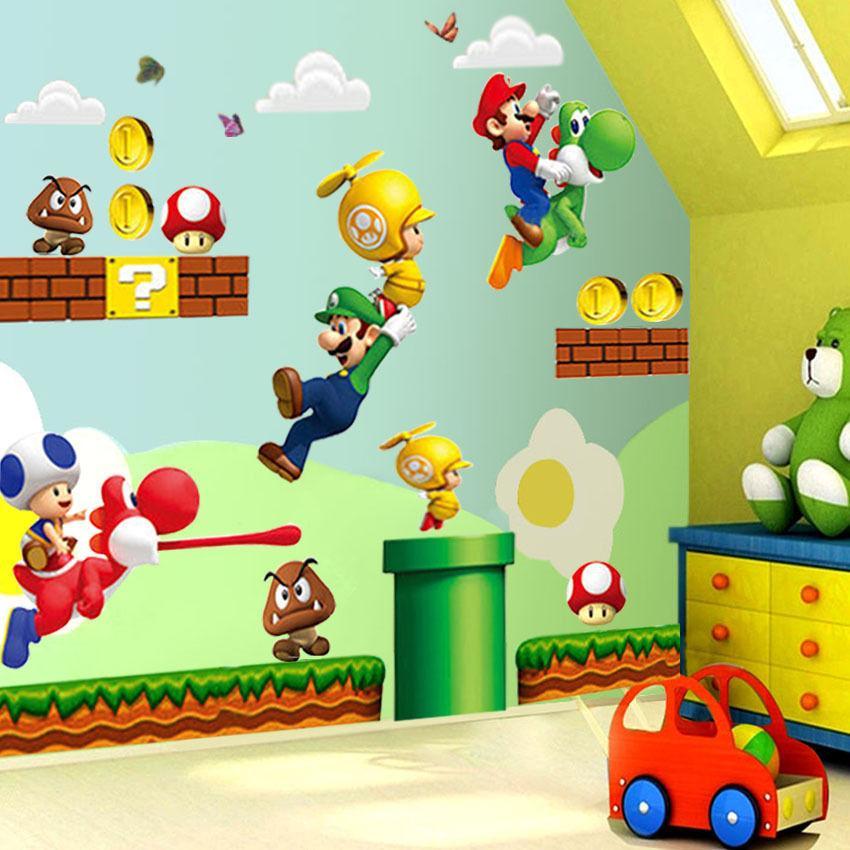 Adesivi Murali Super Mario.Hot New Super Mario Bros Adesivi Murali Murali Adesivo Decorazioni Per Bambini Camera Rimovibile Vinile Luzh