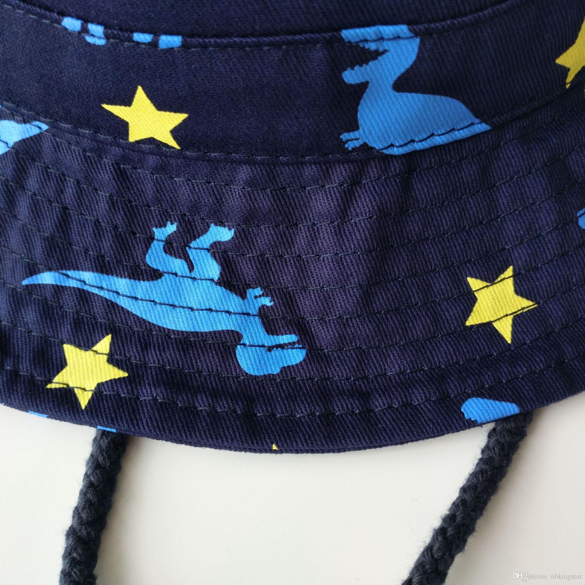 Niños Dinosaurio Impresión Animales Cubo Sombrero Plegable Curling Ala Floppy Pescador Sombreros Niños Regreso a la escuela Protección solar Bob Gorras