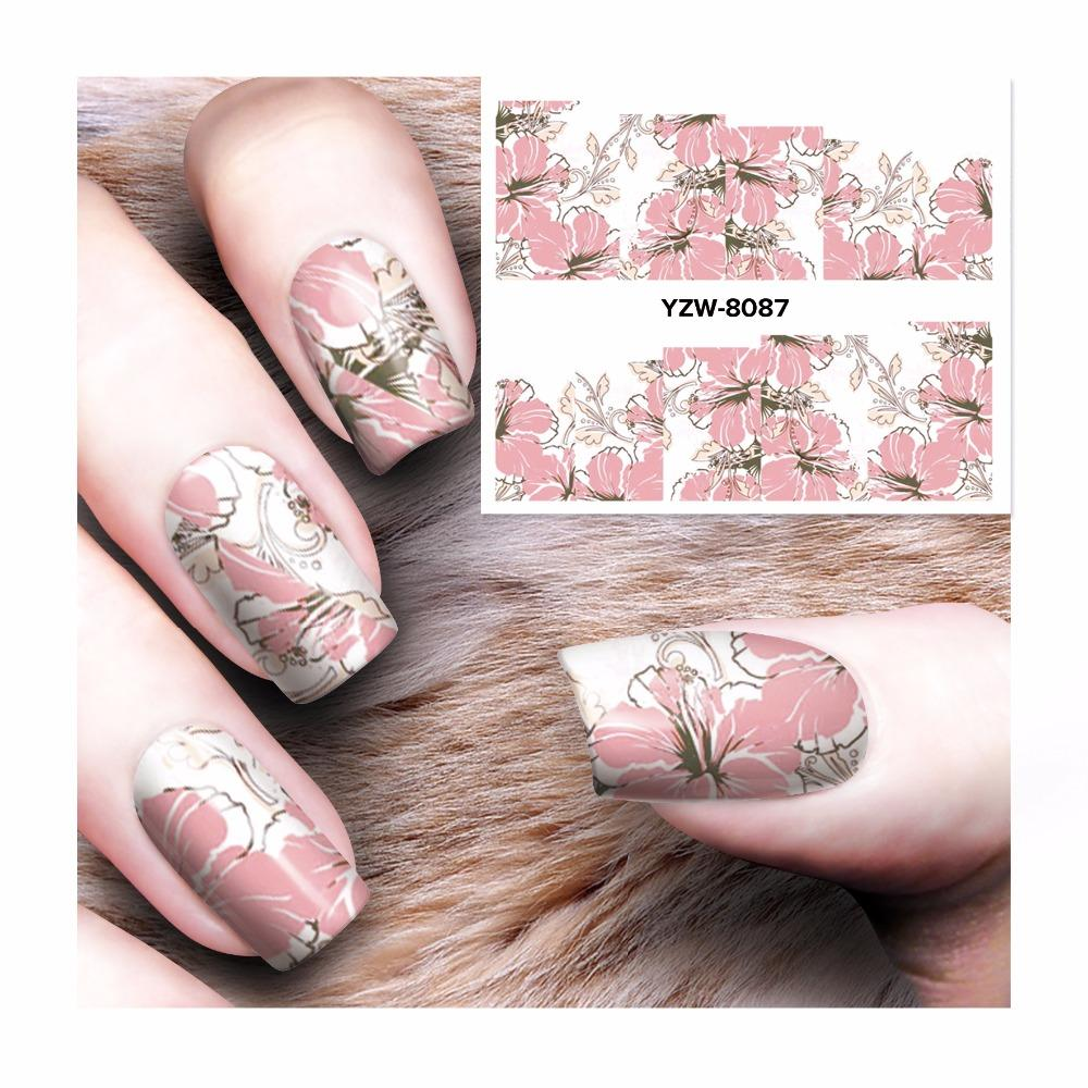 Zko 1 Sheet Chic Pink Flower Designs Nail Sticker Water Decals Nail
