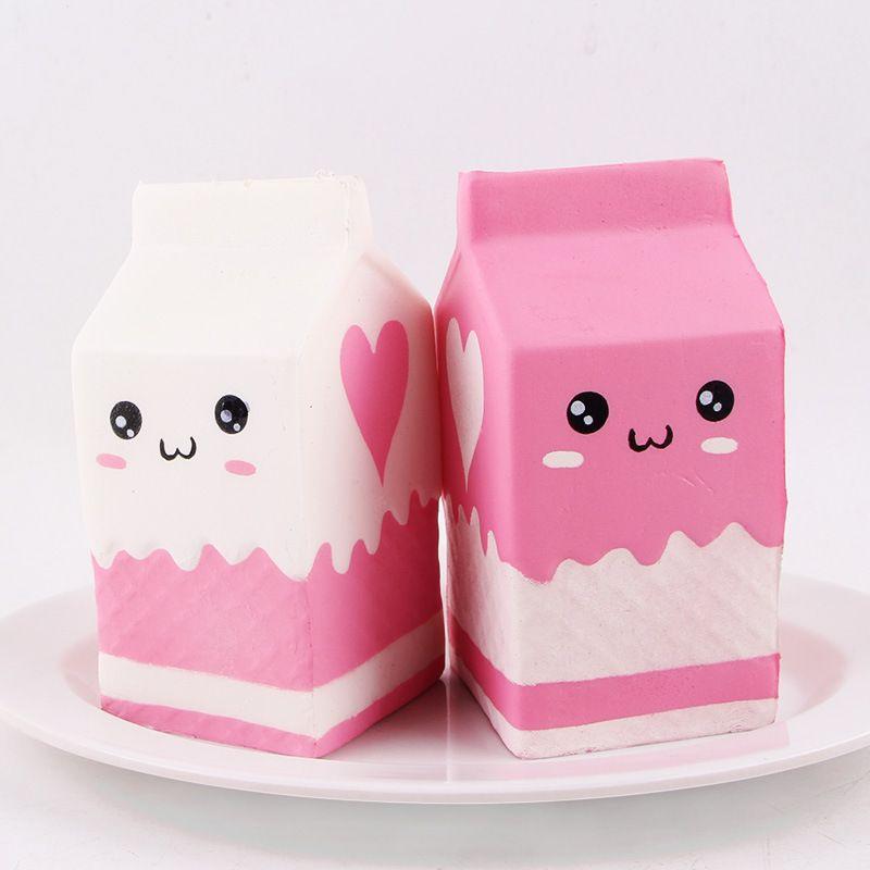 Wholesale Kawaii Yogurt Box Squishy Jumbo Simulation Fruit Fragrance Slow Rising Queeze Toy Cute Squishies Milk Bottle