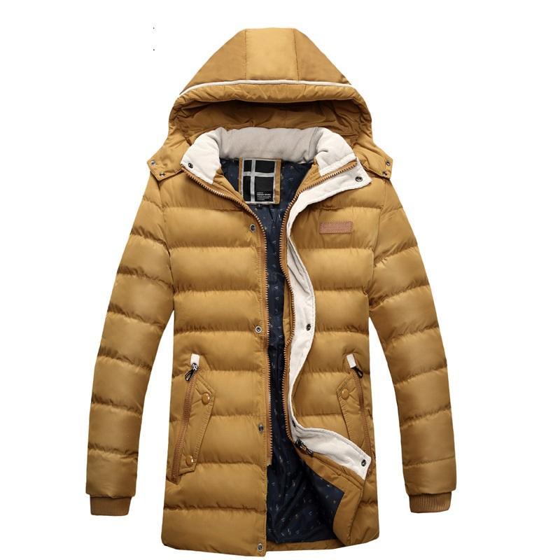 Winter Thick Padded Parka Men Jacket Coat Russian Wadded Long Hooded Casual Warm Snow Windbreaker Overcoat Male Jackets AU-056