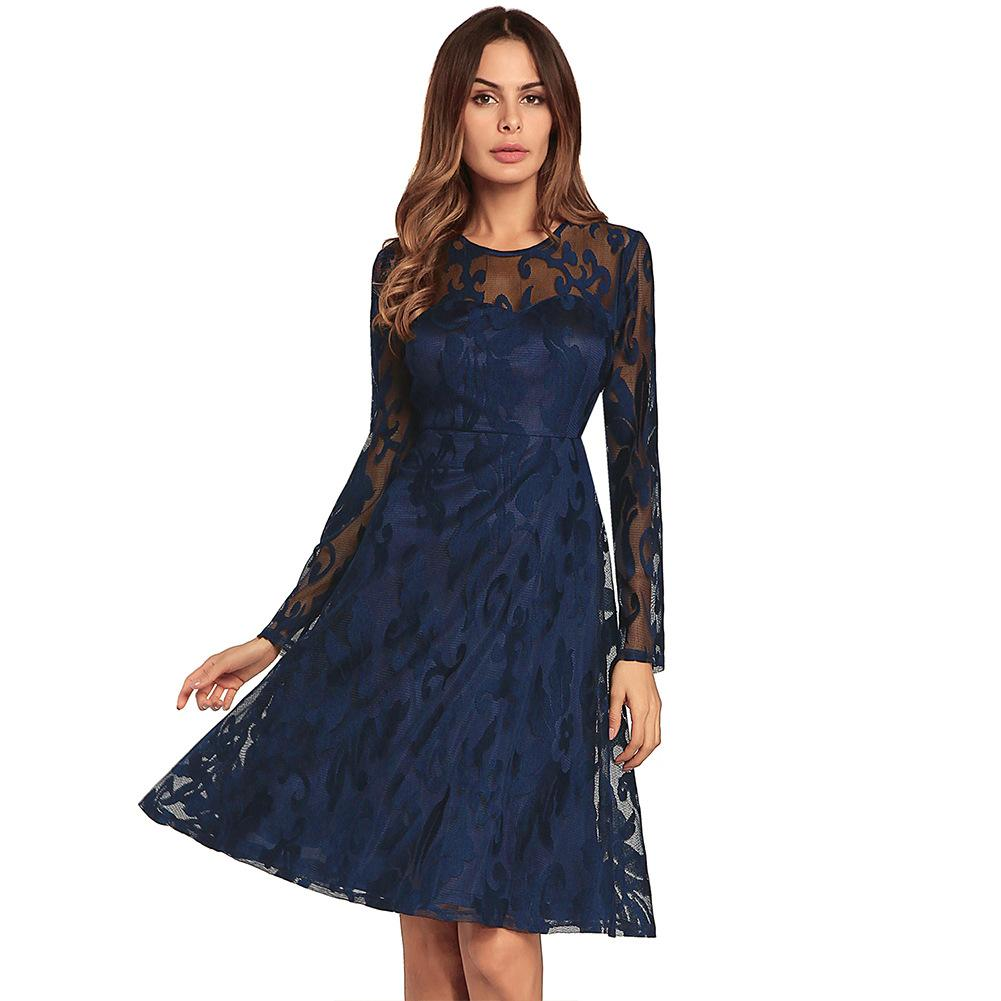 Women Lace Dress Summer 2018 Casual Long Sleeve Elegant Floral O Neck Zipper Ball Gown Evening Party Holiday Ladies Clothing