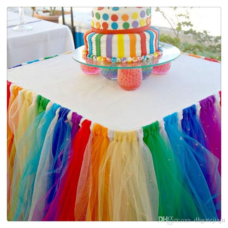 Table Skirts Cover Table Cloth For Girl Princess Party Baby Shower