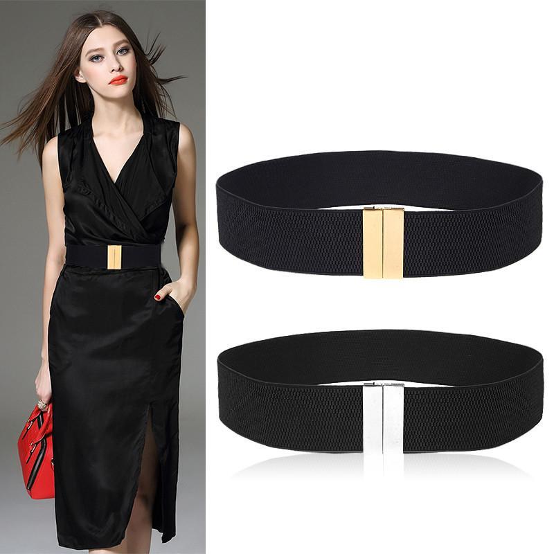 Compre Nueva Cintura CALIENTE Cinturones De Las Mujeres Elástico Ancho  Cinturón De Oro Hebilla Cummerbund Femenino Negro Correa Vestido Blanco  Decoración ... 338768f4f80e