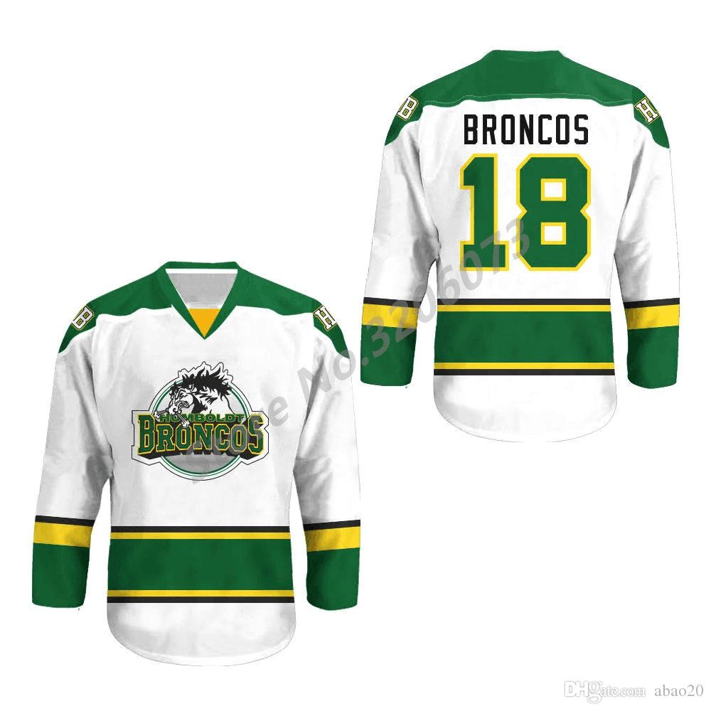 2019  18 Humboldt Broncos White Green Retro Classic Ice Hockey Jersey Mens  Stitched Custom Any Number And Name Jerseys From Abao20 188a10af6