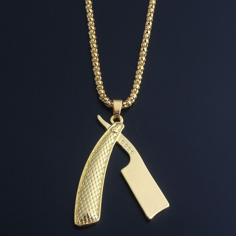 Высокое Качество Бритва BladePendant Ожерелья Для Мужчин 2018 Горячие Хип-Хоп Ювелирные Изделия Позолоченные Роскошные Аксессуары Подарки