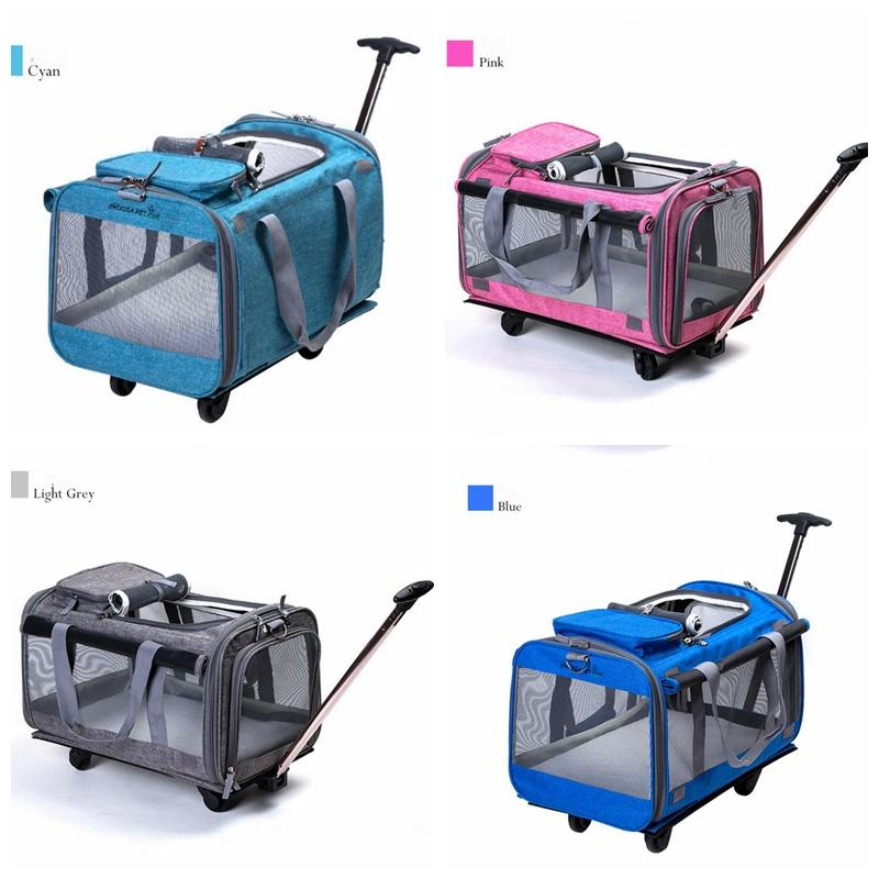 Portable Pet Trolley Travel Box Dog Out Bags Cat Puppy Remove Backpack  Detachable Four Wheels Trolley Backpack Car Bag MMA1087