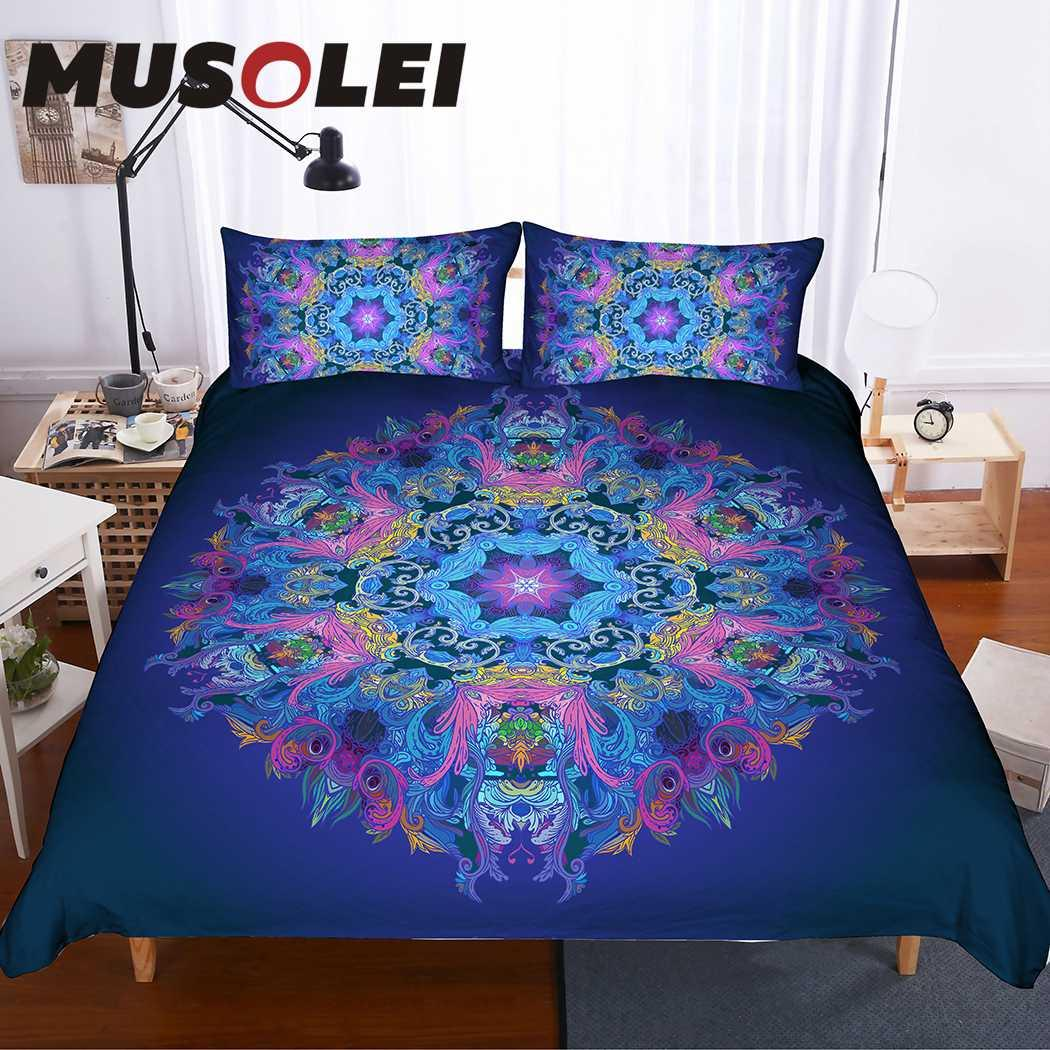Musolei 3d Duvet Cover Set Mandala Pattern Neon Composition Bohemian